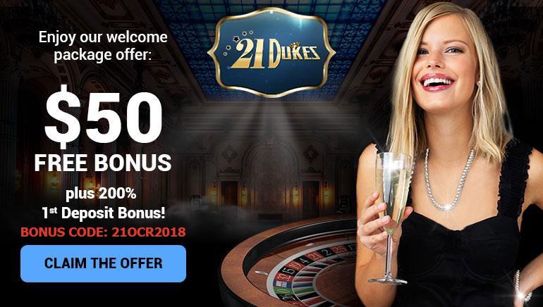 Kráľovské privítanie: Bonus 50 $ zadarmo v 21Dukes Casino