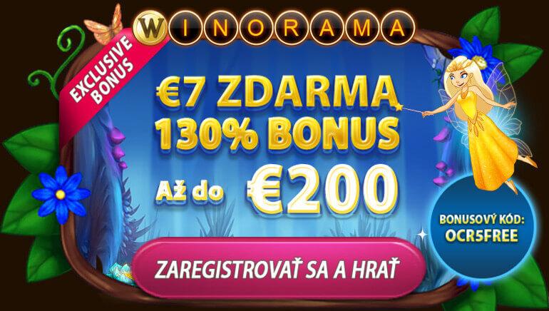 Získajte zadarmo 7 € + 130 % až do 200 € vo Winorama Casino