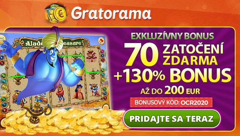 Využite 130 % až do 200 € a 70 zatočení zadarmo v kasíne Gratorama