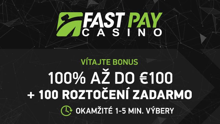 Bonus 100 € a 100 zatočení zadarmo pre nových hráčov v kasíne FastPay