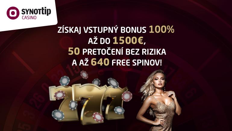 Synottip Casino - UVÍTACÍ BONUS €1500 - 100% Zdvojnásobenie